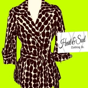 HeartSoul polka dot double breasted coat w belt